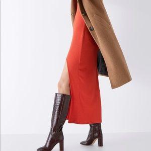 Zara Animal print leather heeled boots
